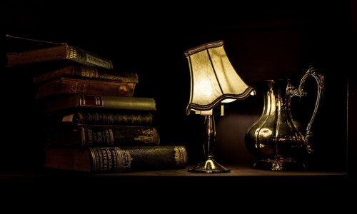 Books and Table Lamp